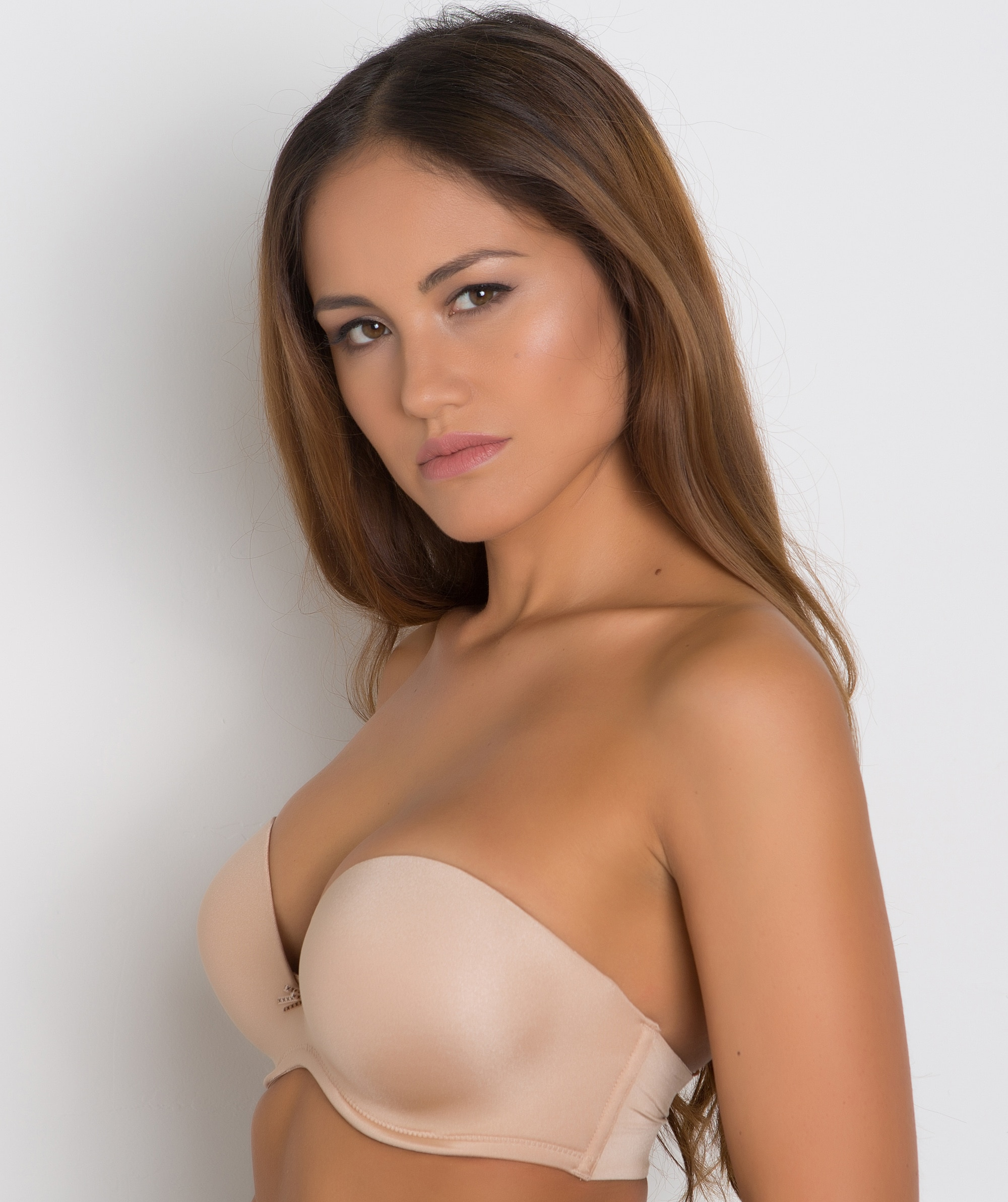 Extreme Cleavage Strapless Double Push Up Bra - Nude