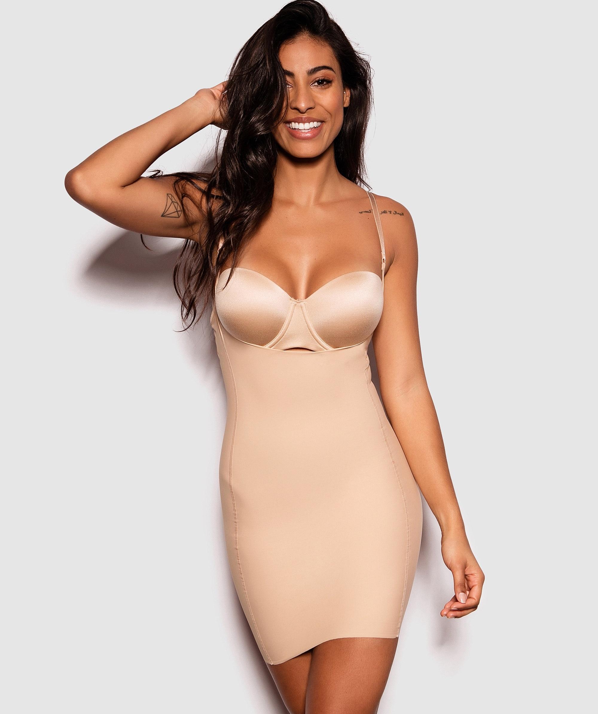 Underbust Shaping Slip Dress - Nude