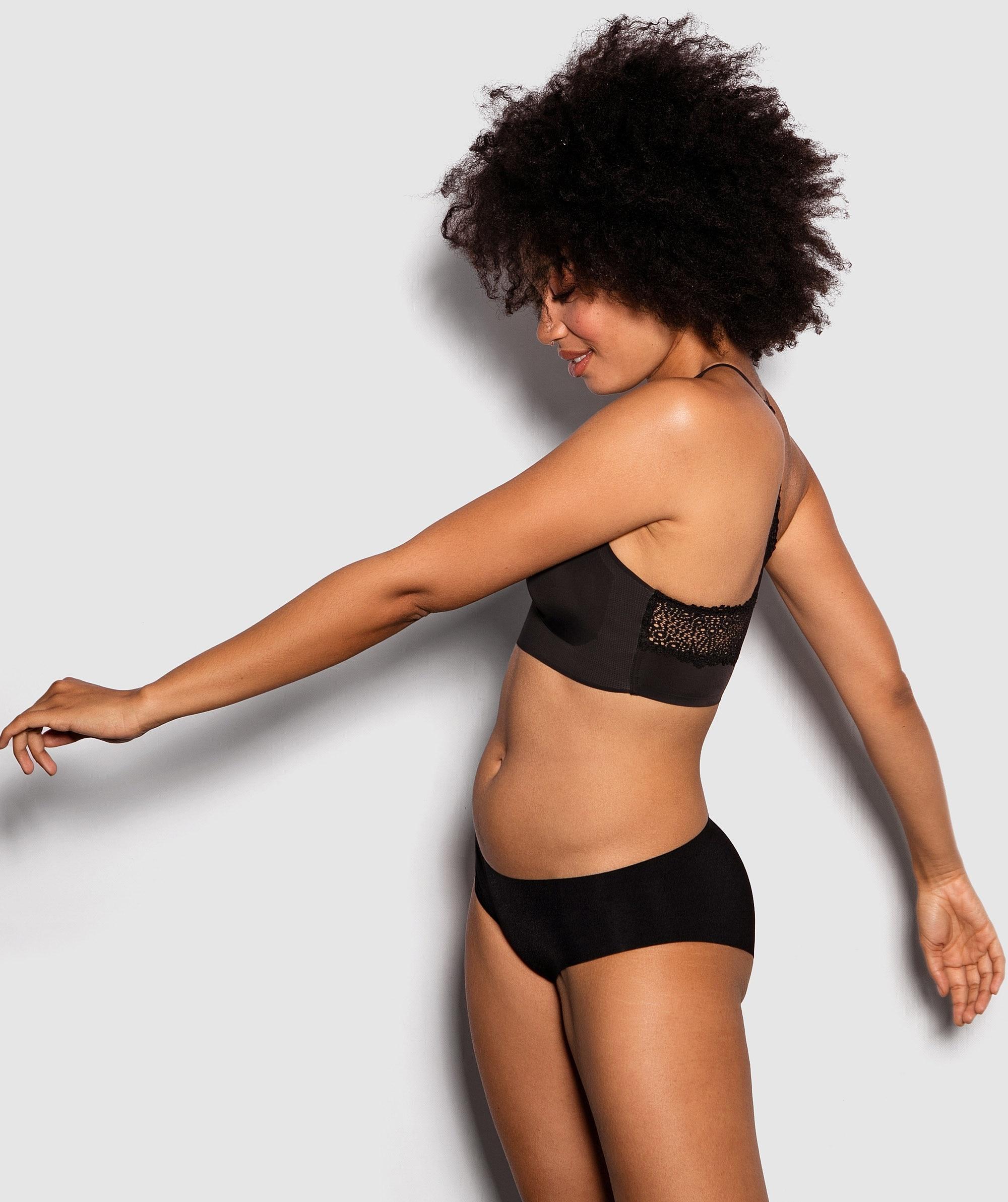 Modern Comfort Lace Back Bralette - Black
