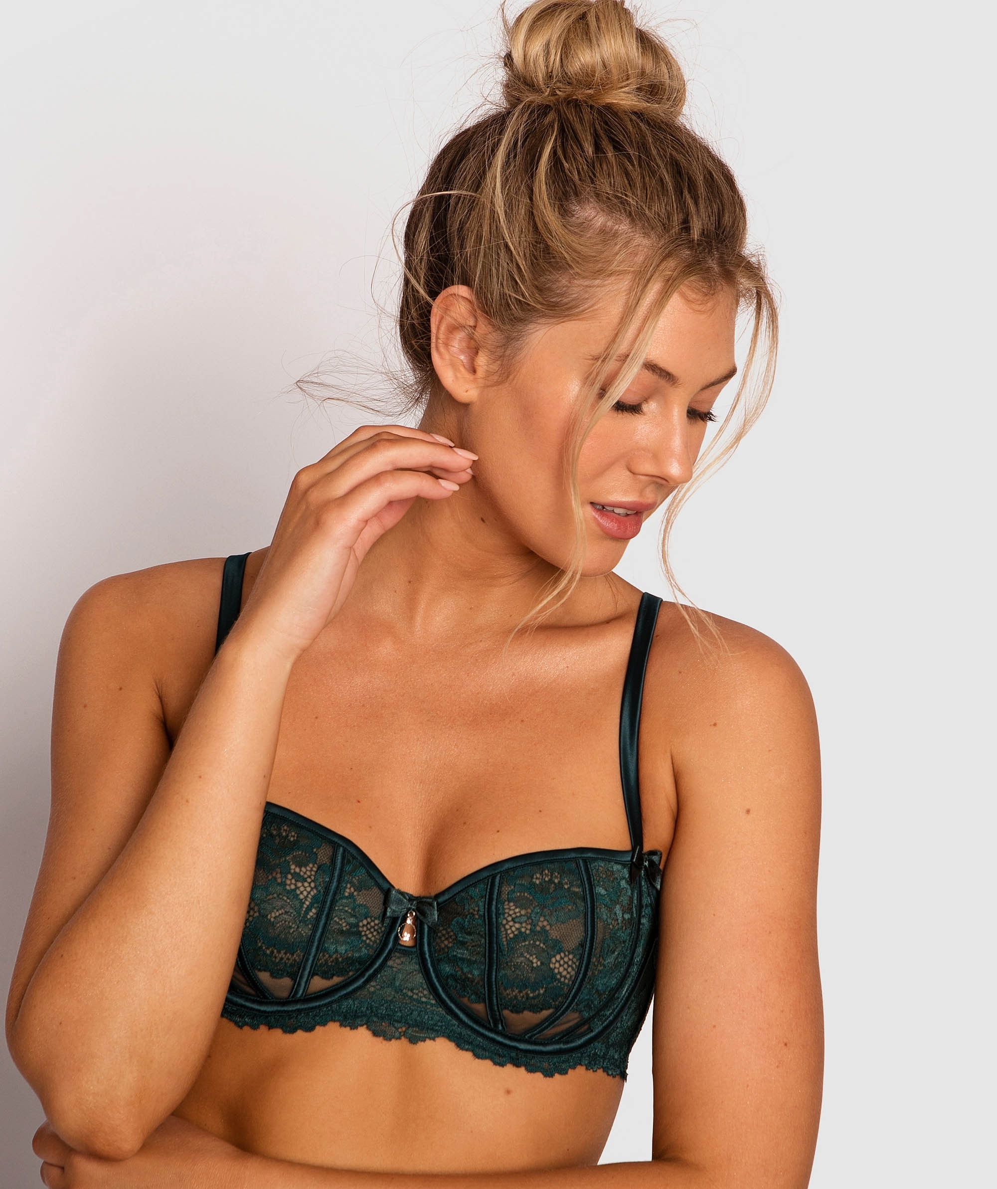 Bethany Underwire Bra - Teal/Nude
