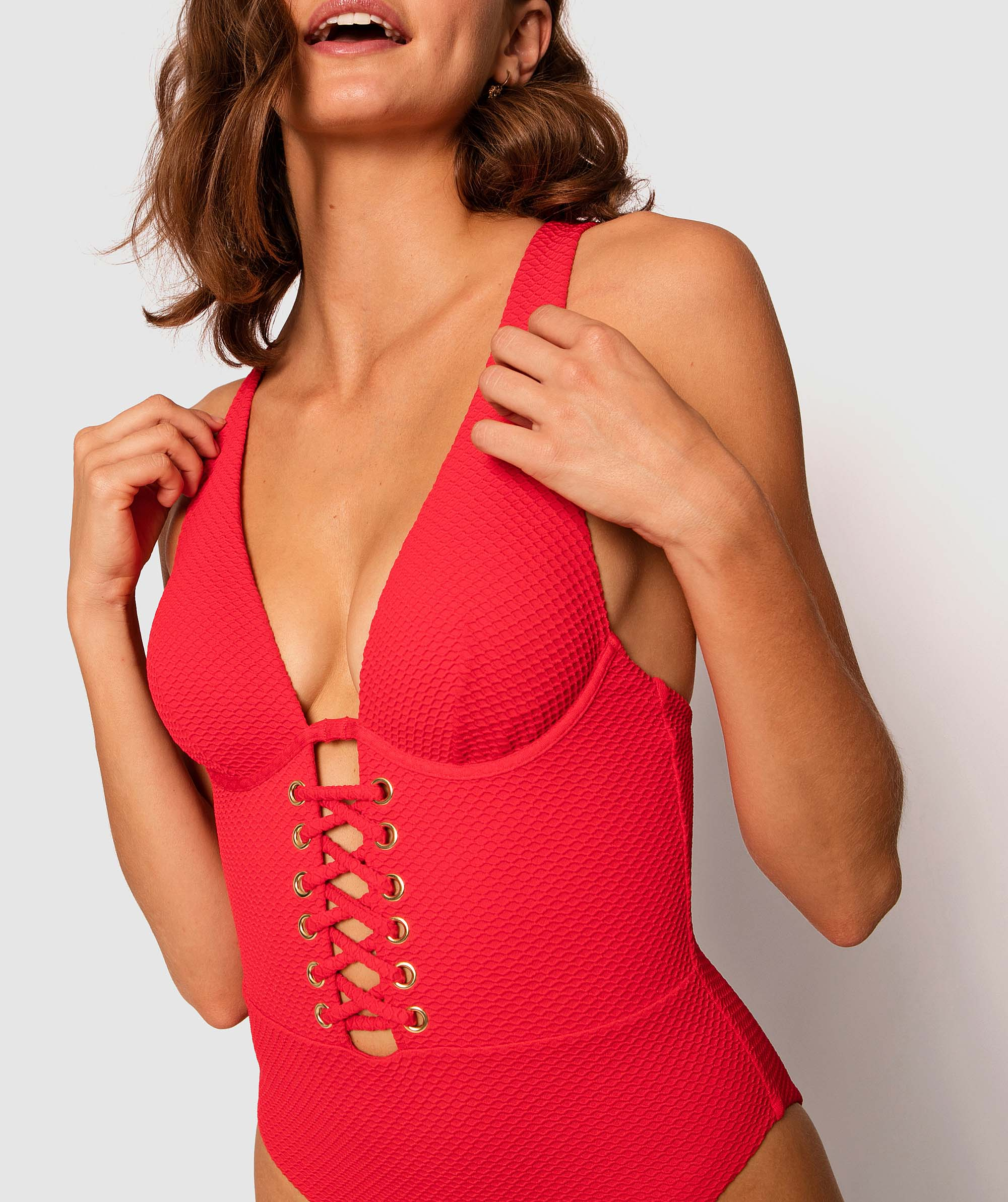 Vamp Bahamas Texture Rapture One Piece Swimsuit - Red