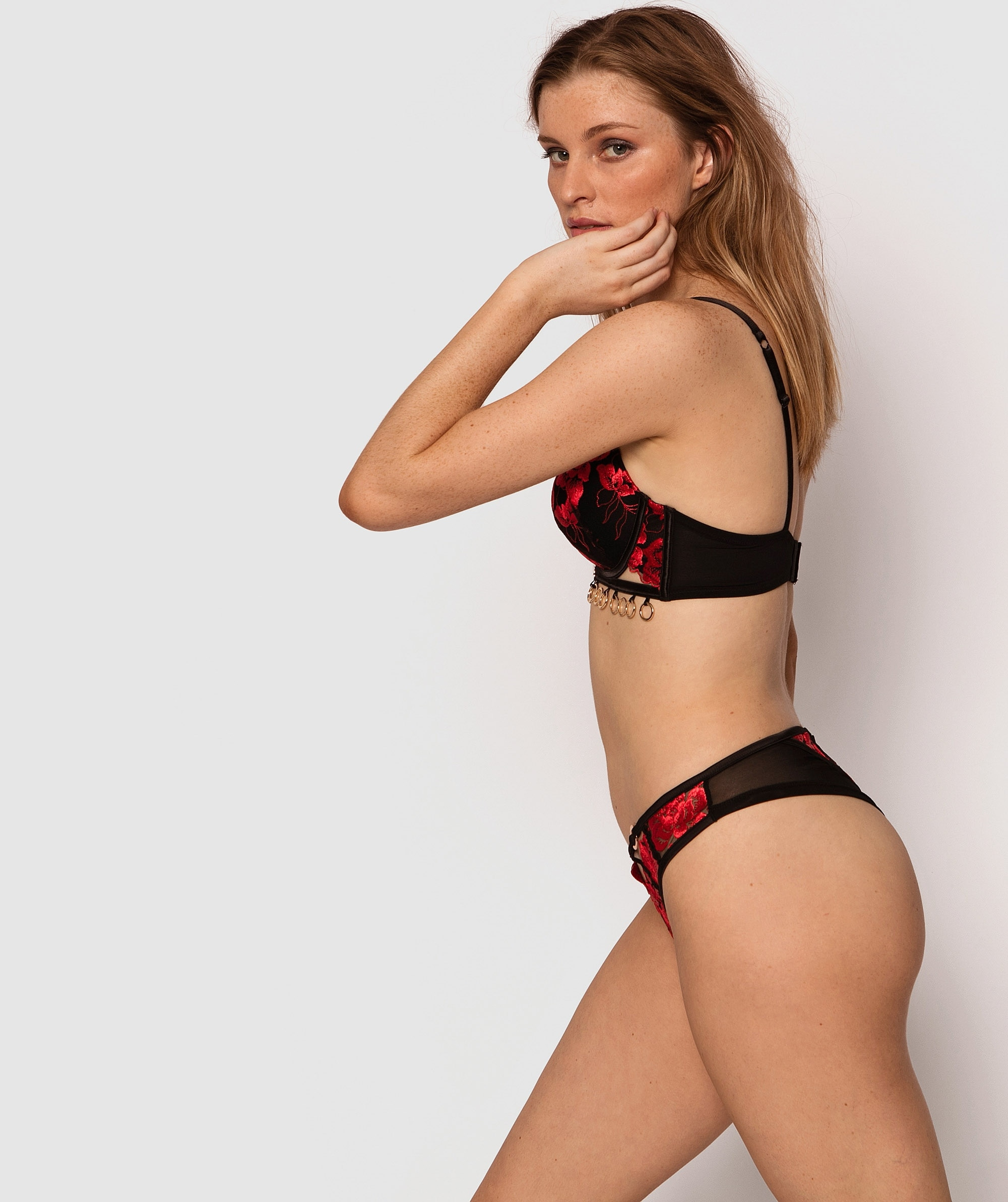 Vamp Treat Me Like Fire Brazilian Knicker - Black/Red