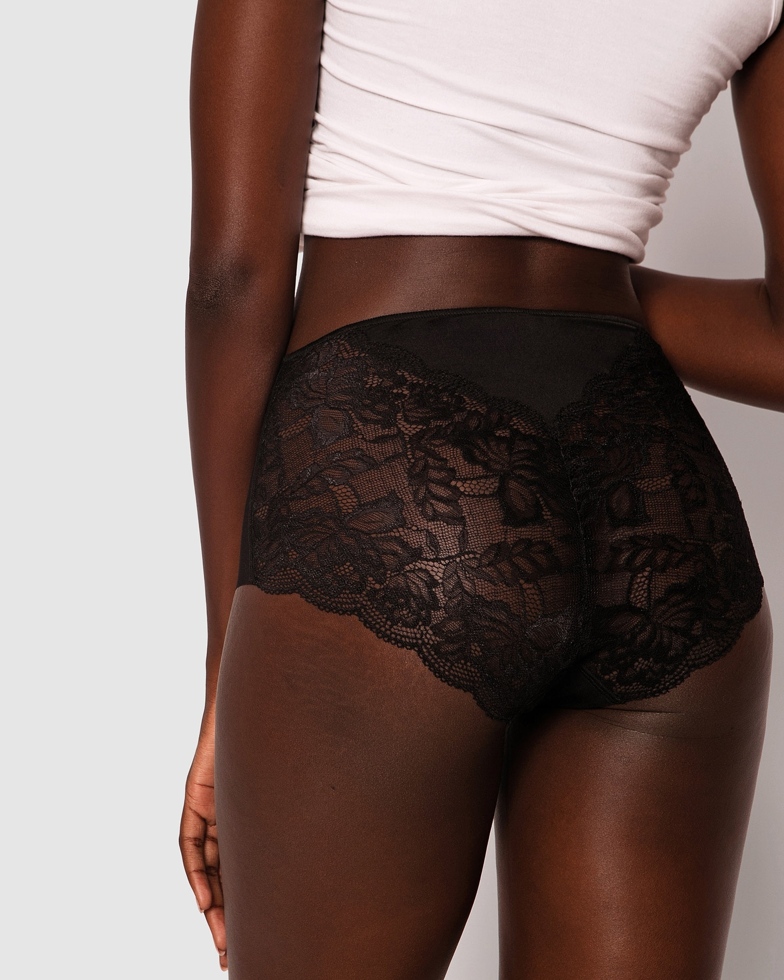 Smooth Comfort Lace Midi Brief Knicker - Black