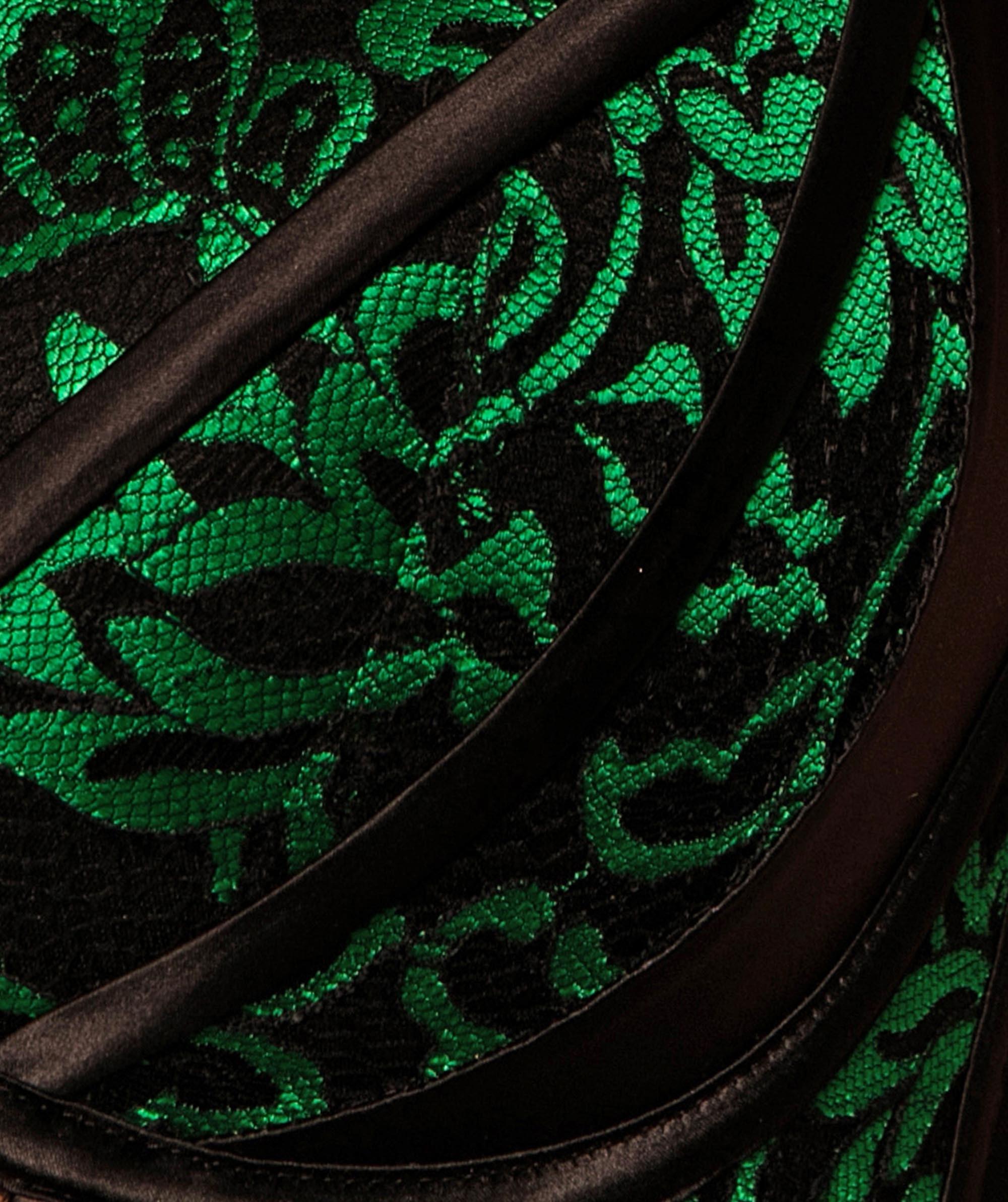 Vamp High Maintenance V String Knicker - Black/Dark Green