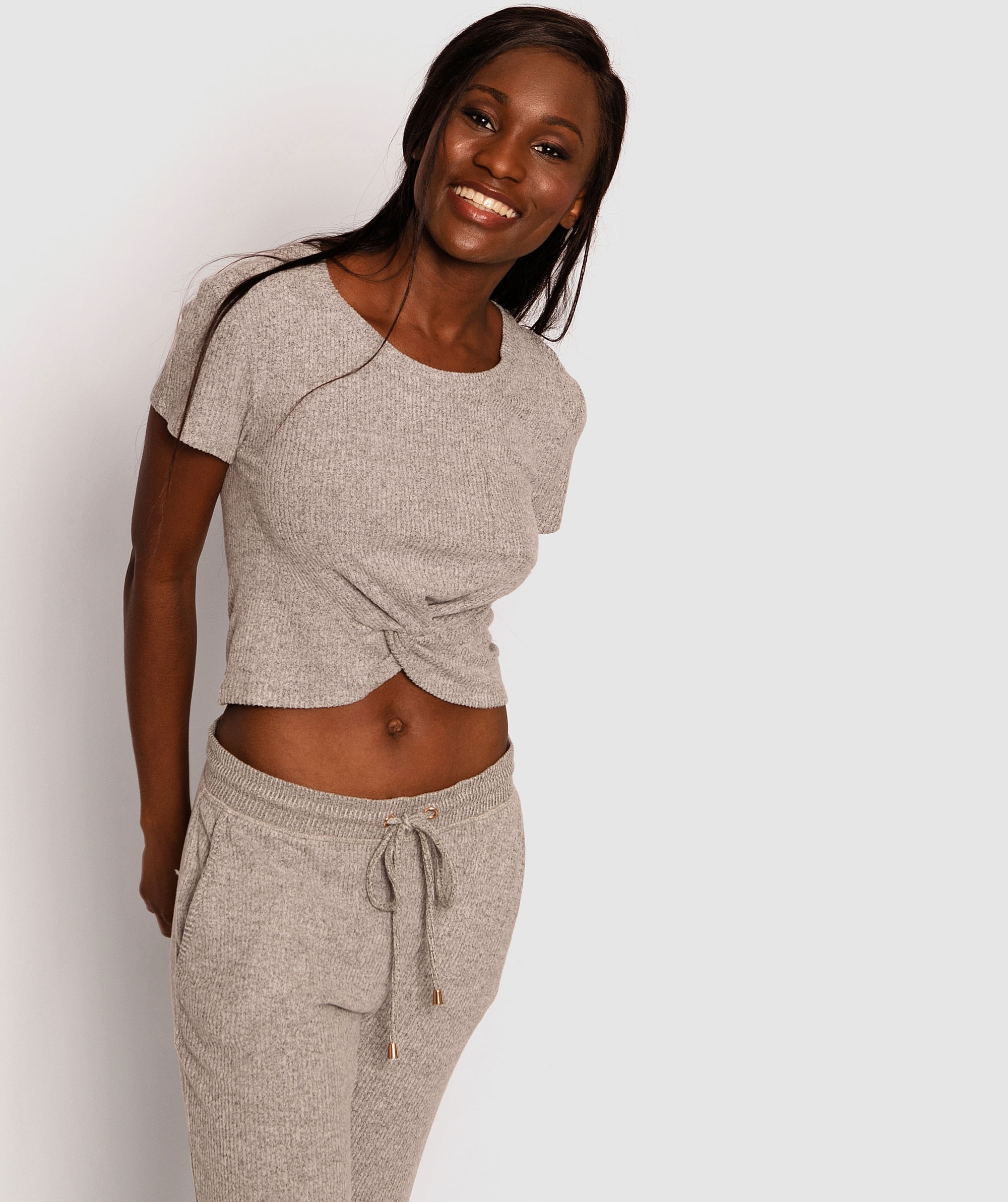 Twyla Short Sleeve Knot Front Top - Grey