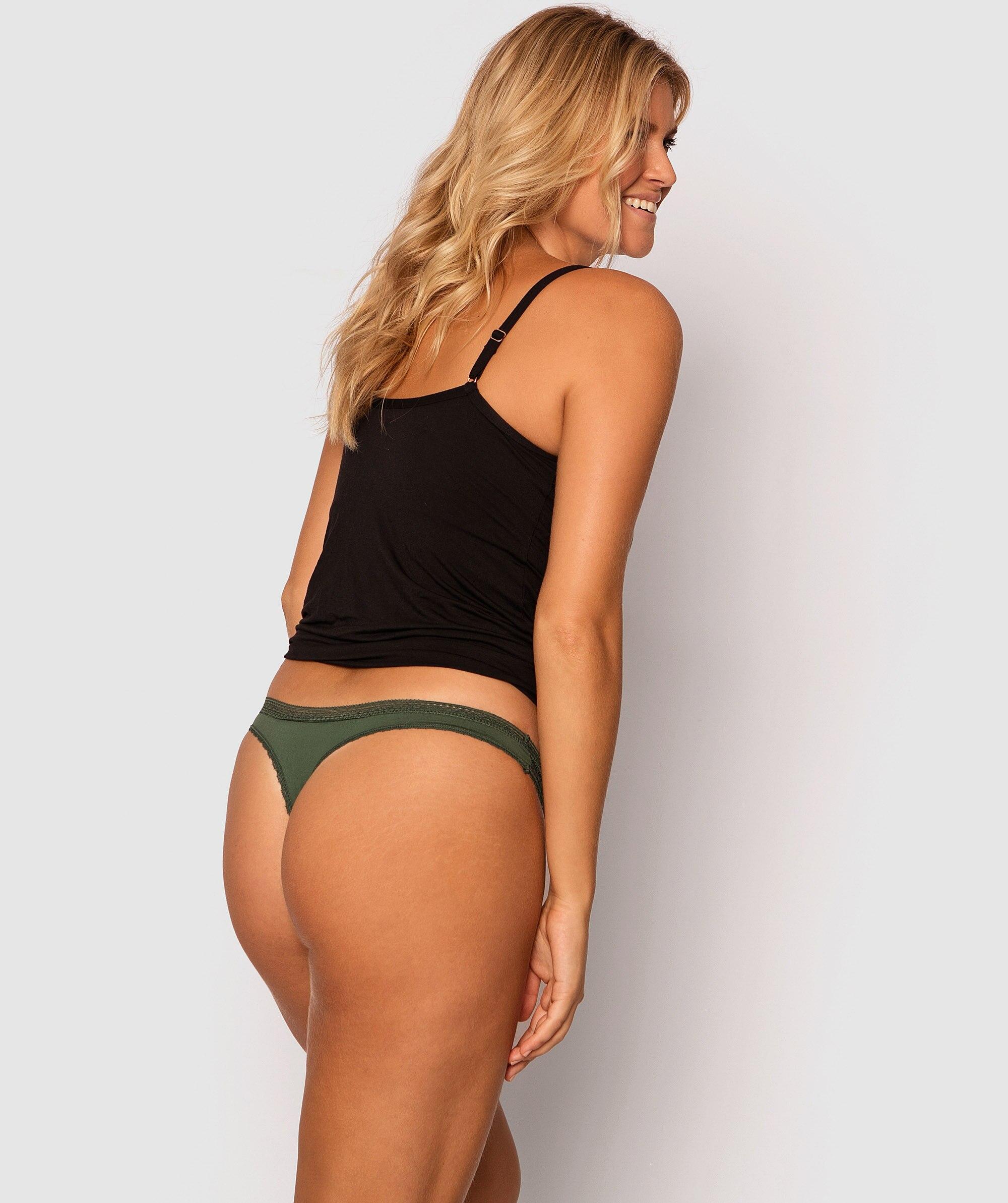 Ember V String Knicker - Dark Green