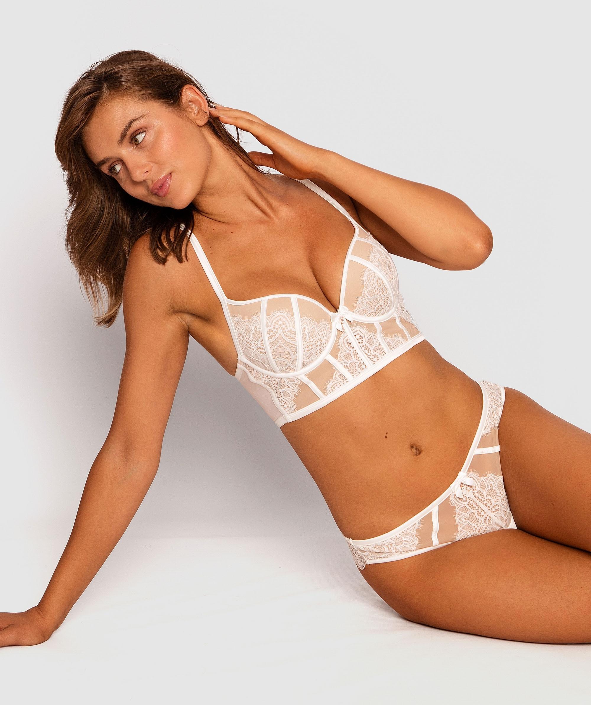 Vanessa Plunge Push Up Bra - Ivory/Nude