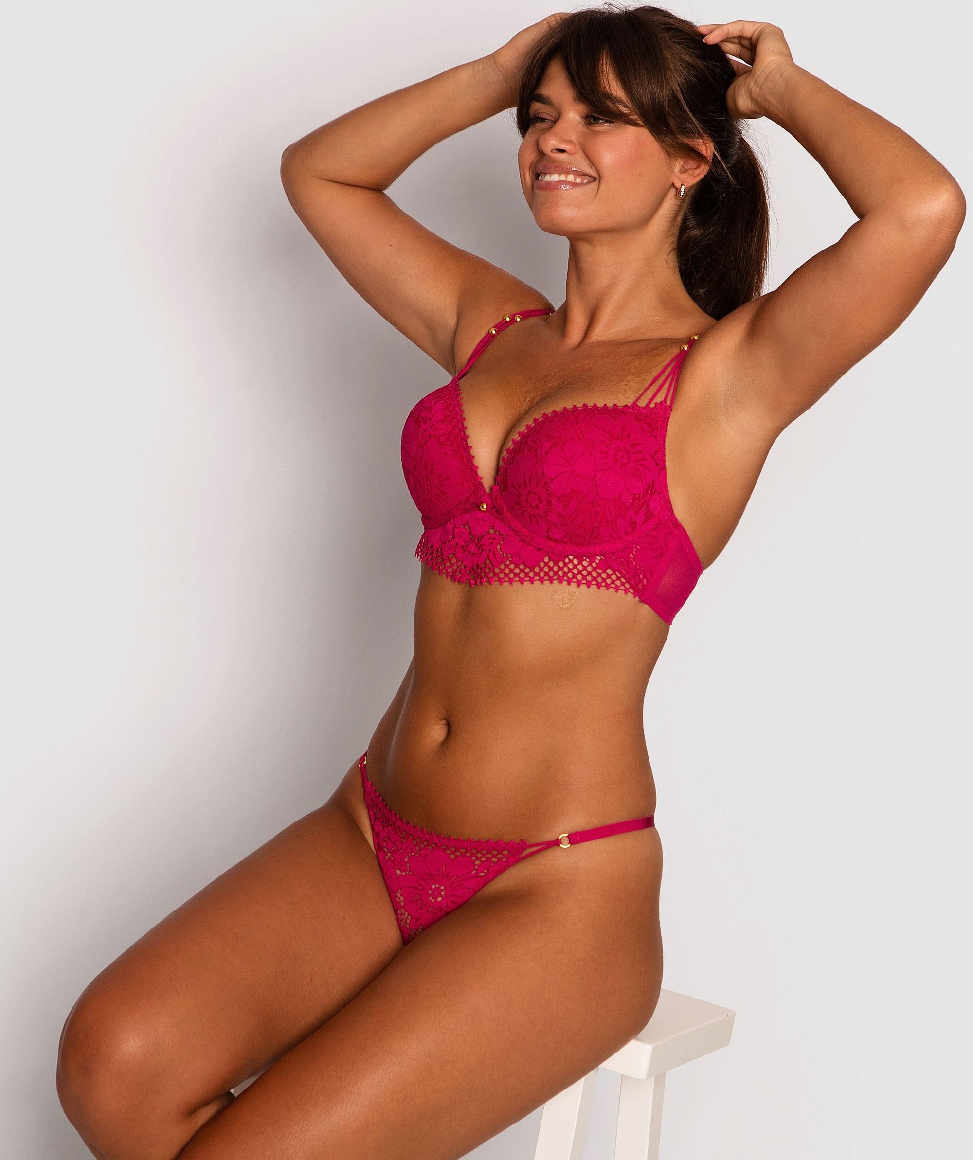Lilly Balconette Push Up Bra - Fuchsia Pink