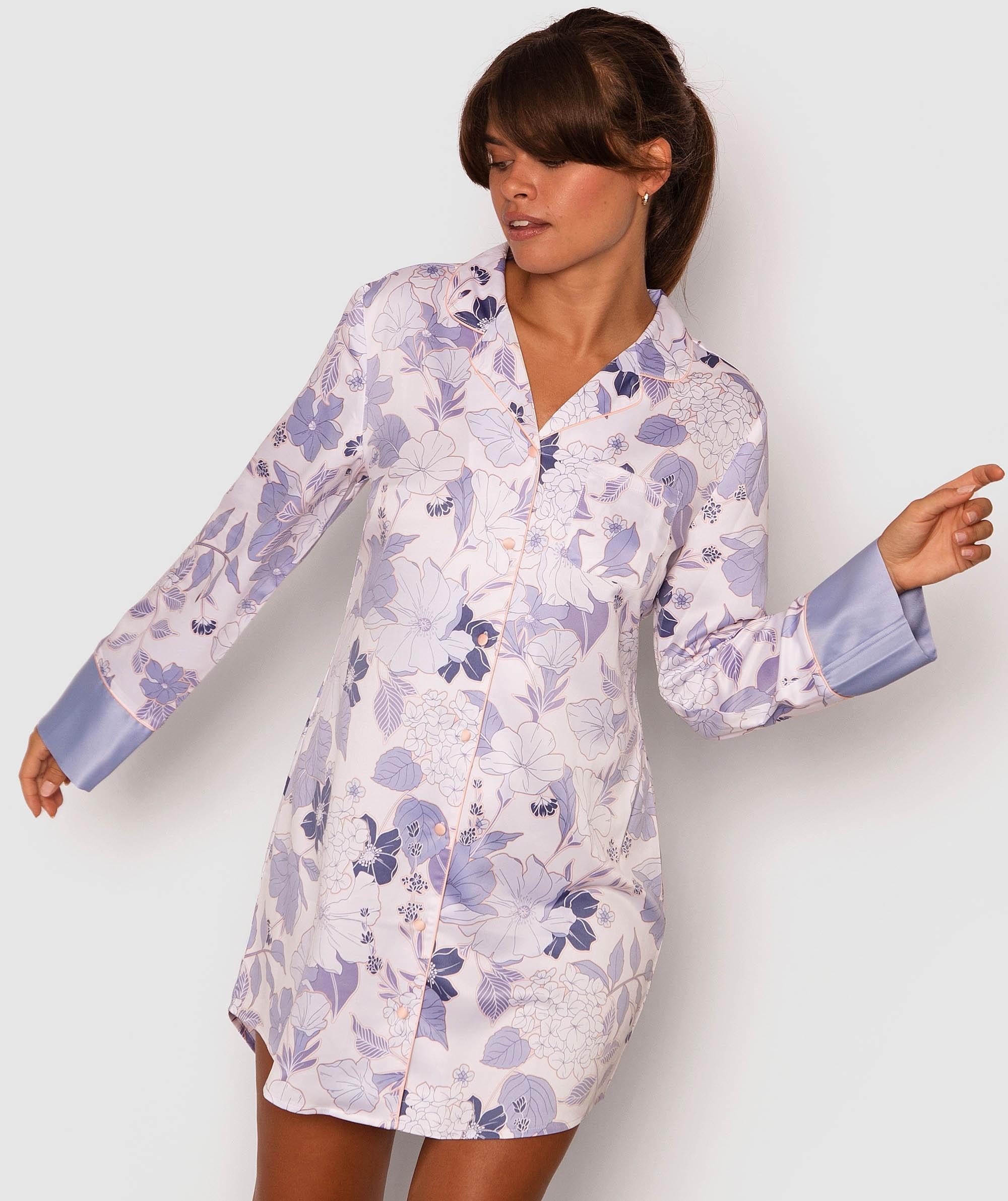 Bridgette Long Sleeve Sleep Shirt - Floral Print