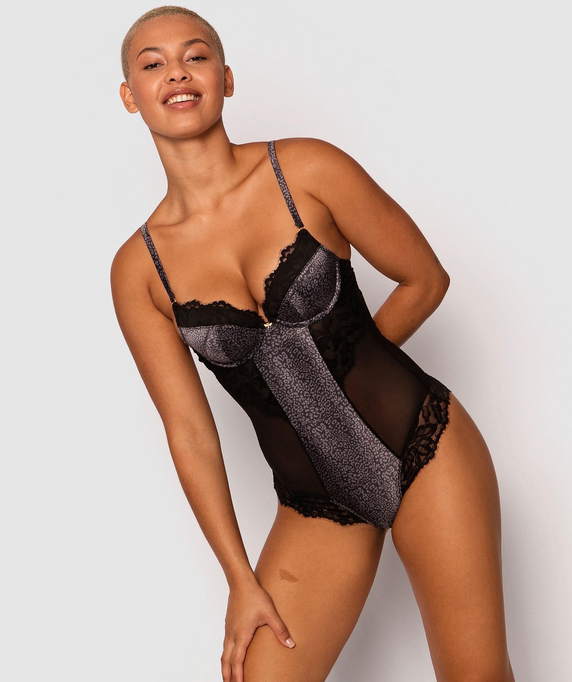 Tropic Glow Contour Bodysuit - Tropical Print/Black