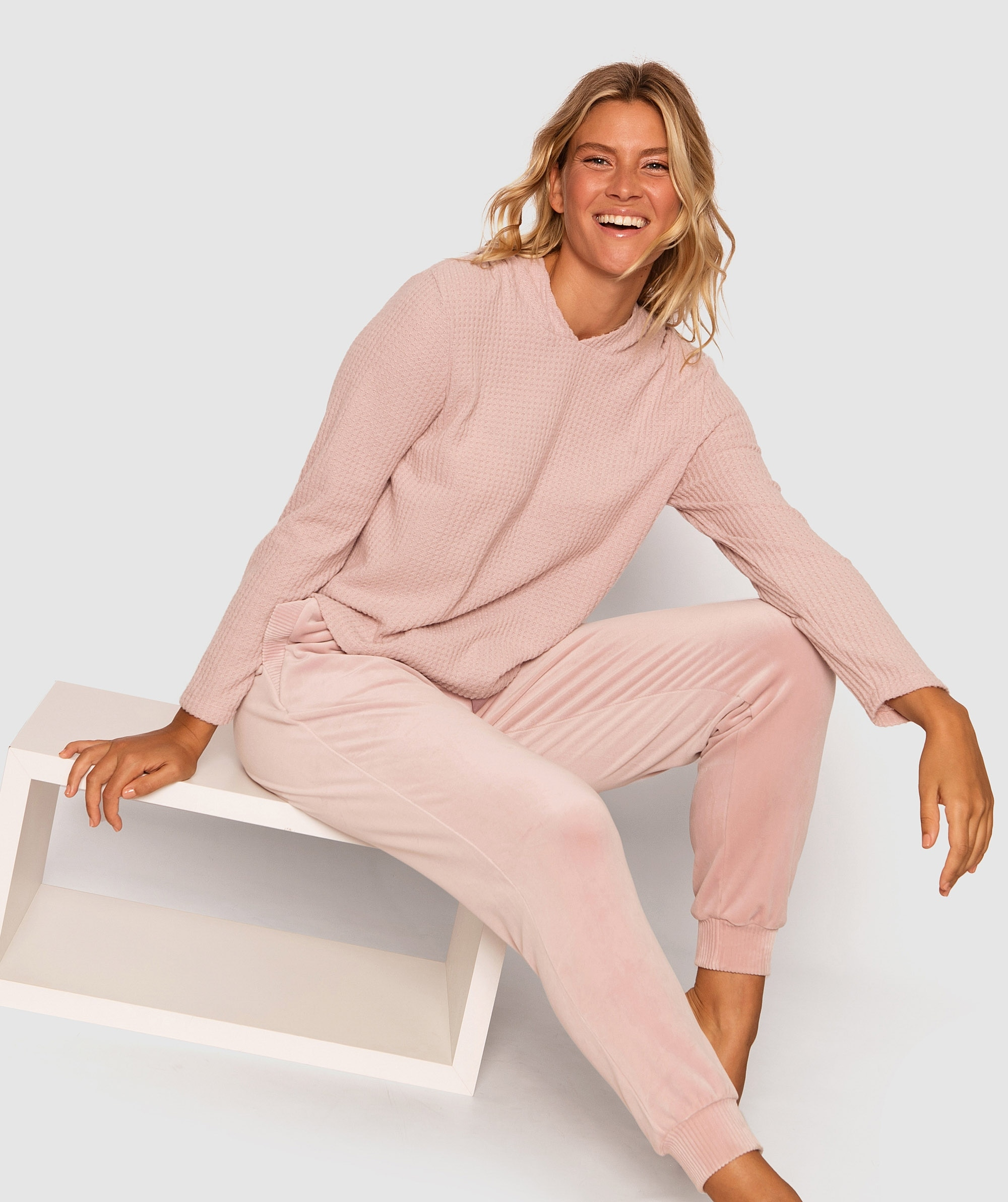 Lush Waffle Long Sleeve Hoodie - Pink