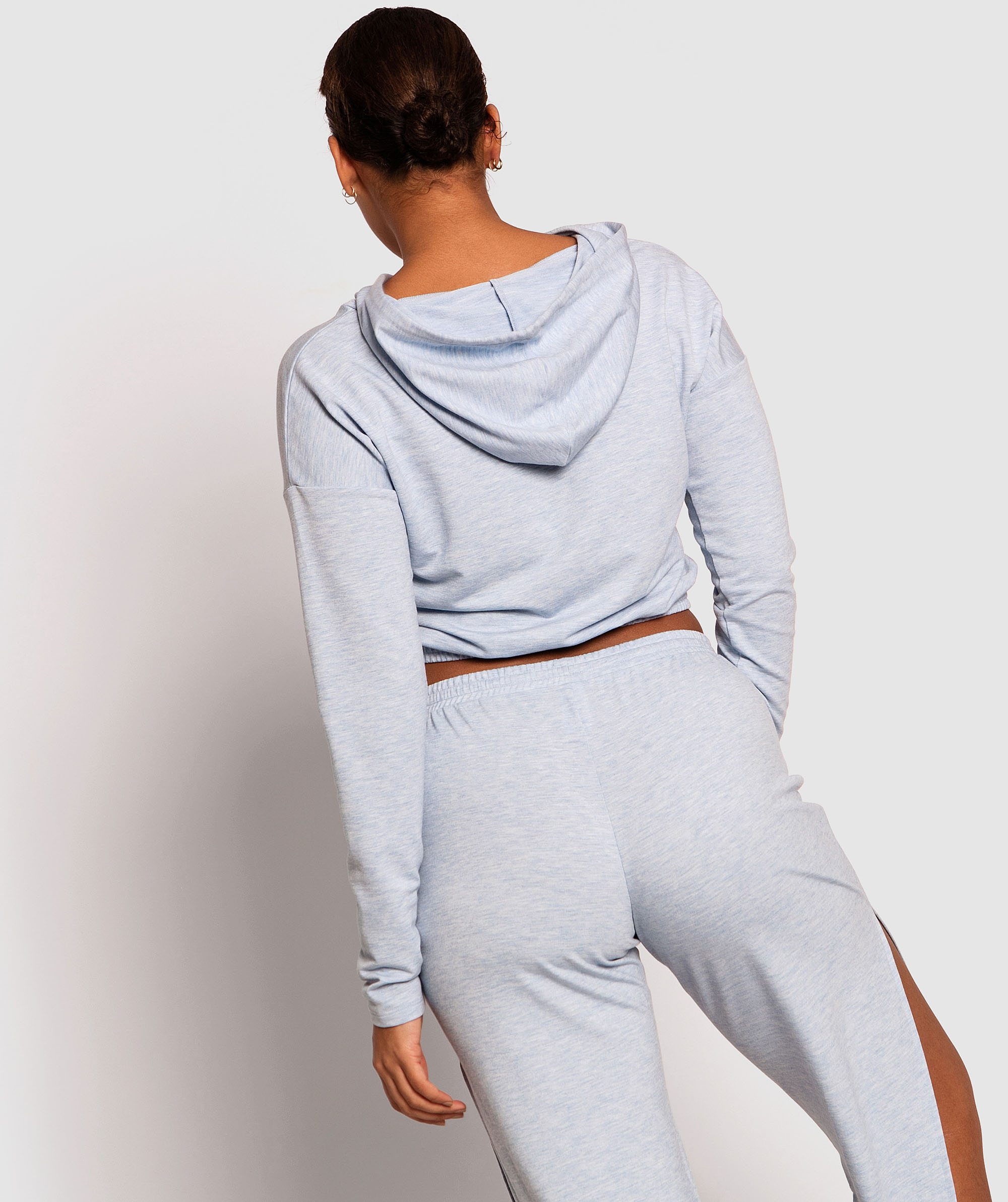 Barre Cropped Hoodie - Light Blue