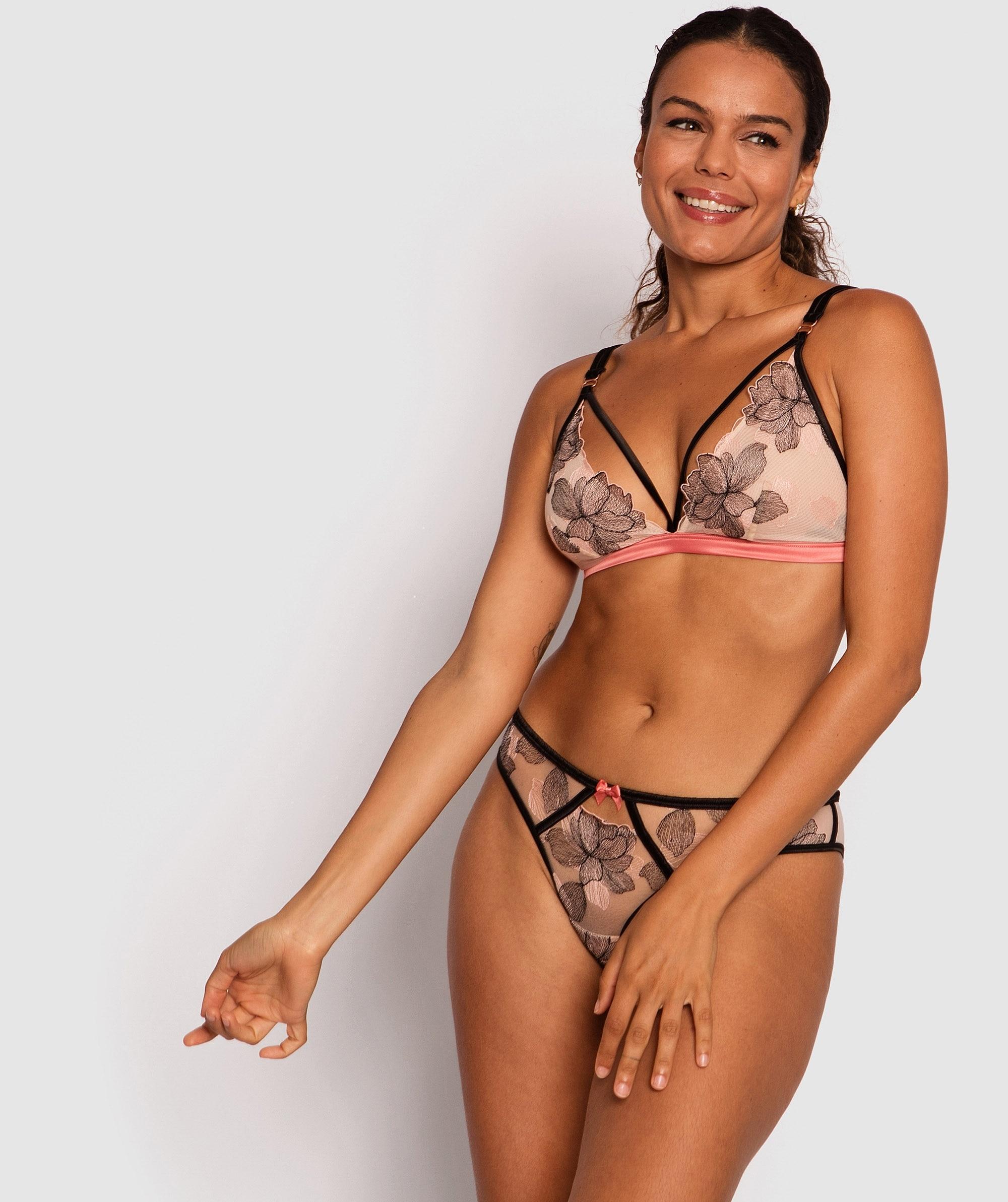 Enchanted Erica Brazilian Knicker - Black/Pale Pink