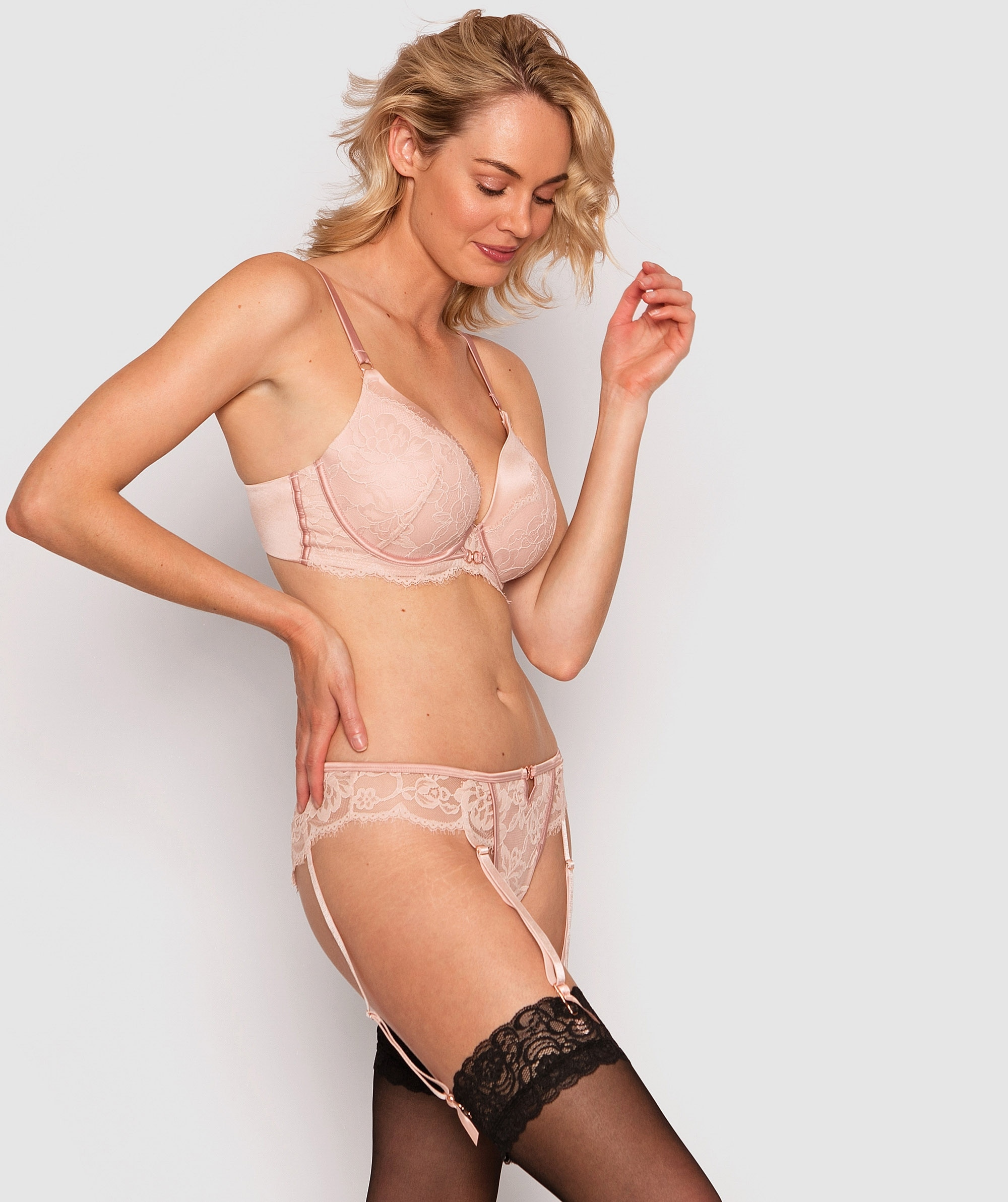 Fashion X Comfort Brazilian Knicker with Removable Suspenders - Blush Pink