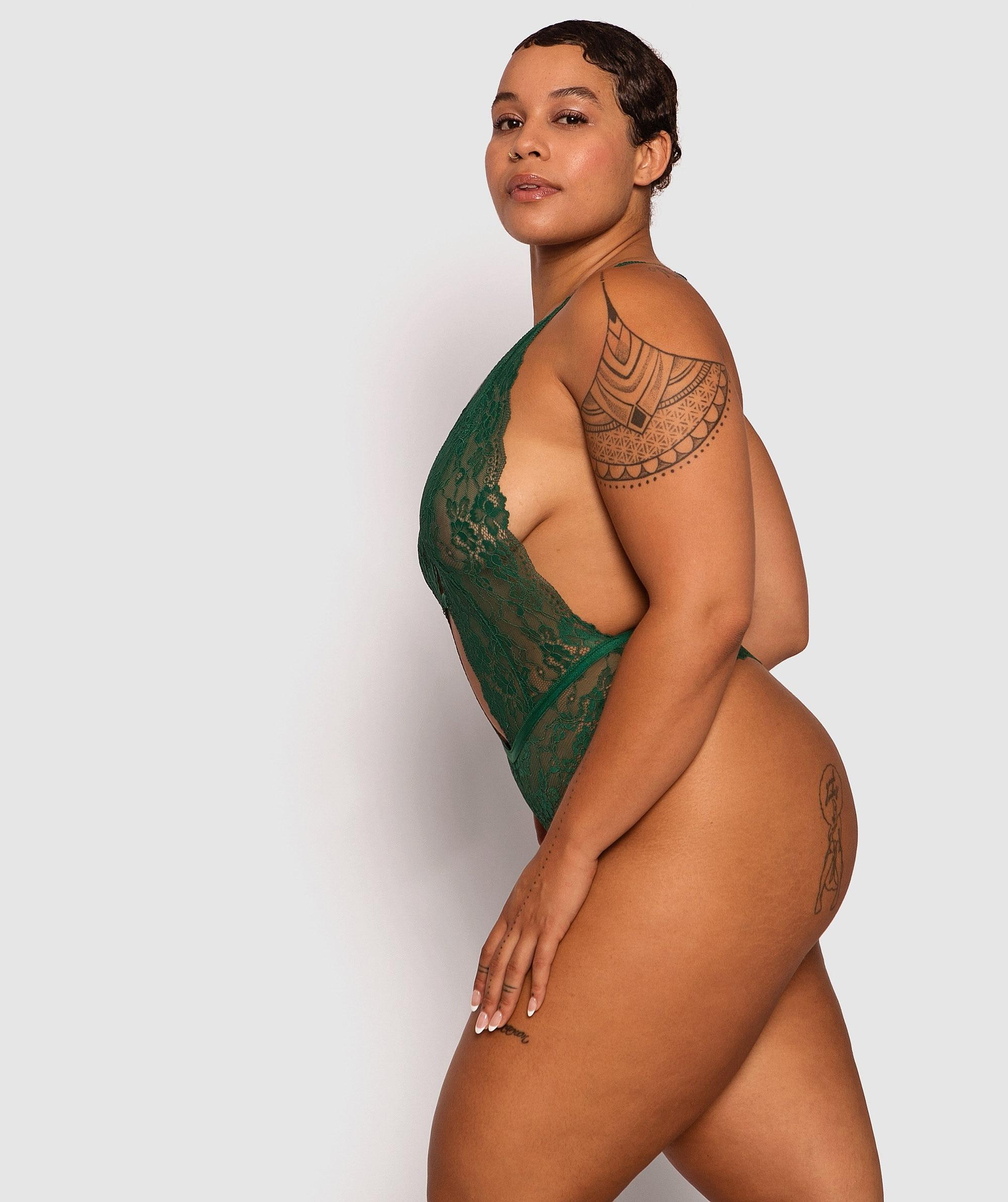 Envy Plunge Bodysuit - Dark Green