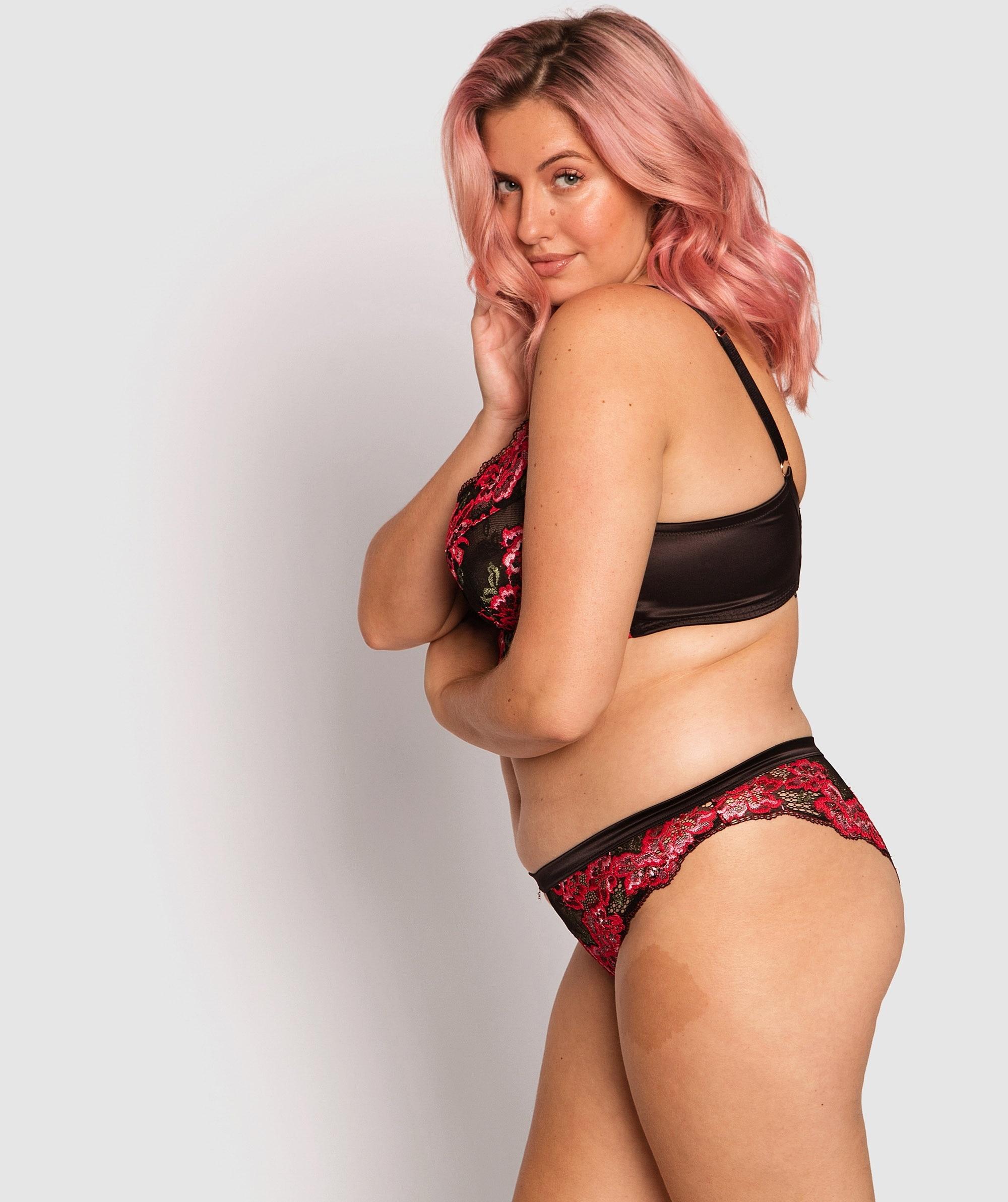Trish Brazilian Knicker - Black/Multi Colour