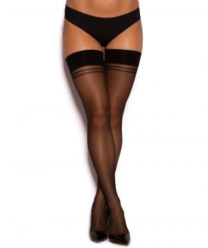 Smooth Top Hold Up Stockings - Black