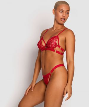 Sweet Nothings Soft Cup Bra & Mini V Set - Red