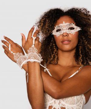 Raven Eye Mask & Hand Cuffs - Ivory