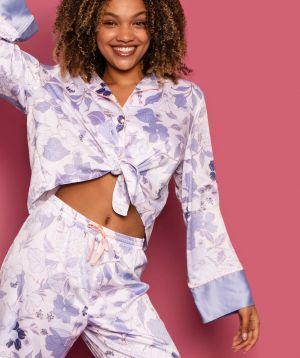 Bridgette Tie Front Long Sleeve Top - Floral Print