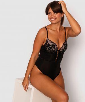 Fashion Sensations Push Up Bodysuit - Black/Nude