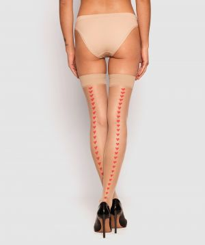 Heart Smooth Top Stay Up Stockings - Nude/Red